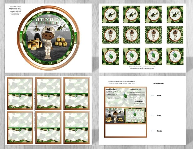 Printable Military Camouflage Party Supplies African