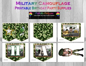 Printable Girl Military Camouflage Party Supplies