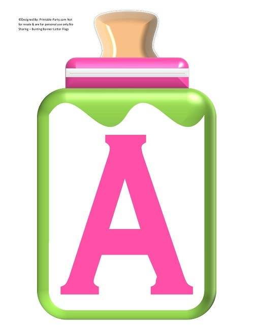 LARGE-GREEN-APPLE-PINK-BABY-BOTTLE-BANNER-LETTERS