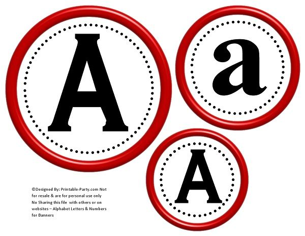 image regarding Printable Numbers 0-9 referred to as 6-inch-dim-crimson-black-circle-printable-banner-letters-figures-a-z-0-9