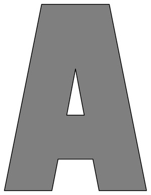 8X10.5  Inch Gray Printable Letters A-Z, 0-9