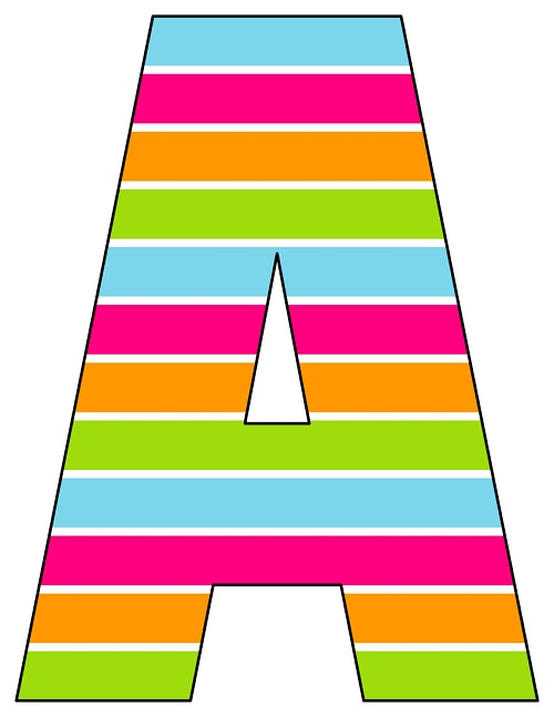 photo regarding Printable Letters Az titled 8X10.5 Inch Rainbow Horizontal Stripe Printable Letters A-Z, 0-9