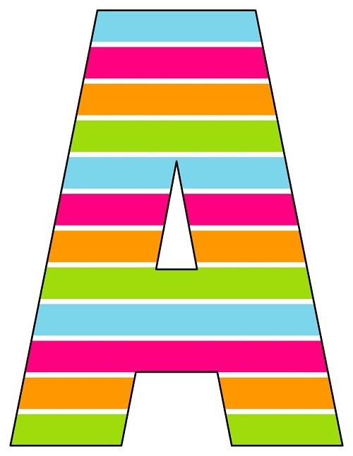 8X10.5  Inch Rainbow Horizontal Stripe Printable Letters A-Z, 0-9