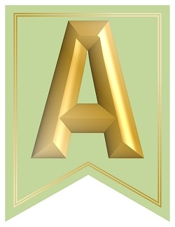 SWALLOWTAIL-PRINTABLE-ALPHABET-BANNER-LETTERS-GREEN-GOLD-1