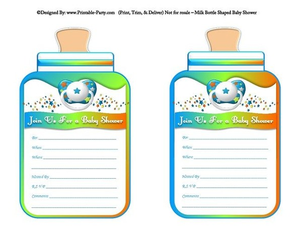 printable-orange-green-blue-babies-bottle-shaped-baby-shower-invitations