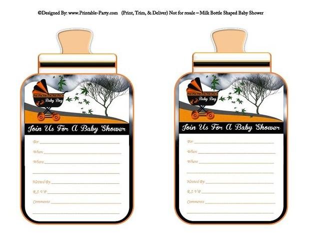 printable-orange-black-carriage-stroller-baby-boy-babies-bottle-shaped-baby-shower-invitations