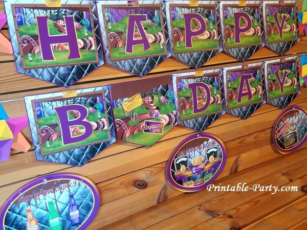 Printable Chocolate Factory Banner Letters A-z, 0-9