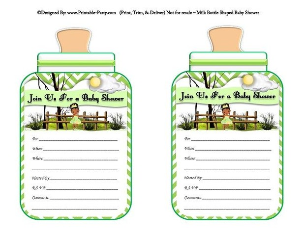 printable-green-chevron-frog-princess-milk-bottle-shaped-baby-shower-invitations