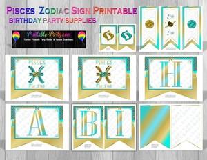 Pisces Printable Zodiac Theme Party Decorations