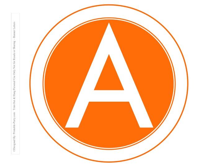 photograph regarding Carrot Printable named 8-INCH-WHITE-ORANGE-CARROT-CIRCLE-PRINTABLE-BANNER-LETTERS-A-Z-0-9