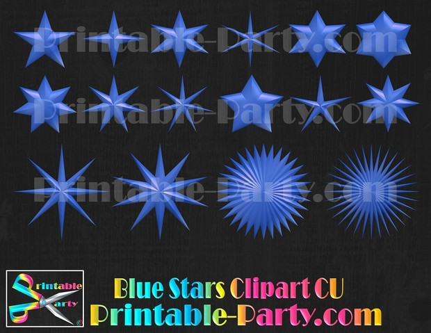 Blue Star Clipart  Commercial Use Royalty Free