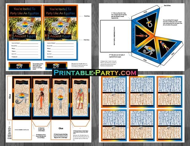 Ancient Egyptian Printable Birthday Party Supplies Printable