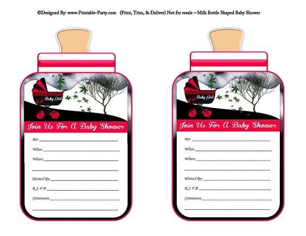 printable-violet-red-black-carriage-stroller-girl-baby-bottle-shaped-baby-shower-invitations
