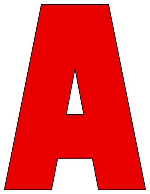 8X10.5  Inch Red Printable Letters A-Z, 0-9
