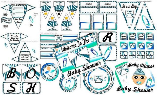 Blue Zebra Diaper Boys Baby Shower Printable Decoratio