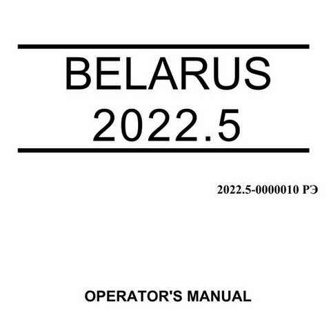 Belarus 2022.5 Tractors Operator's Manual