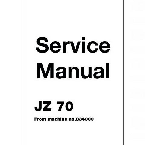JCB JZ70 Tracked Excavator Repair Service Manual