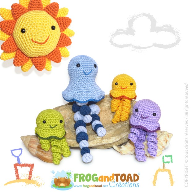 AZUR - la méduse et famille / the jellyfish and family - Amigurumi - FROGandTOAD Créations  ©