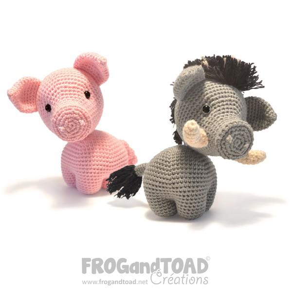 Albert Pig / Cochon & Romuald Boar / Sanglier - Amigurumi Crochet - FROGandTOAD Créations
