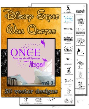 disney style vector quote collection