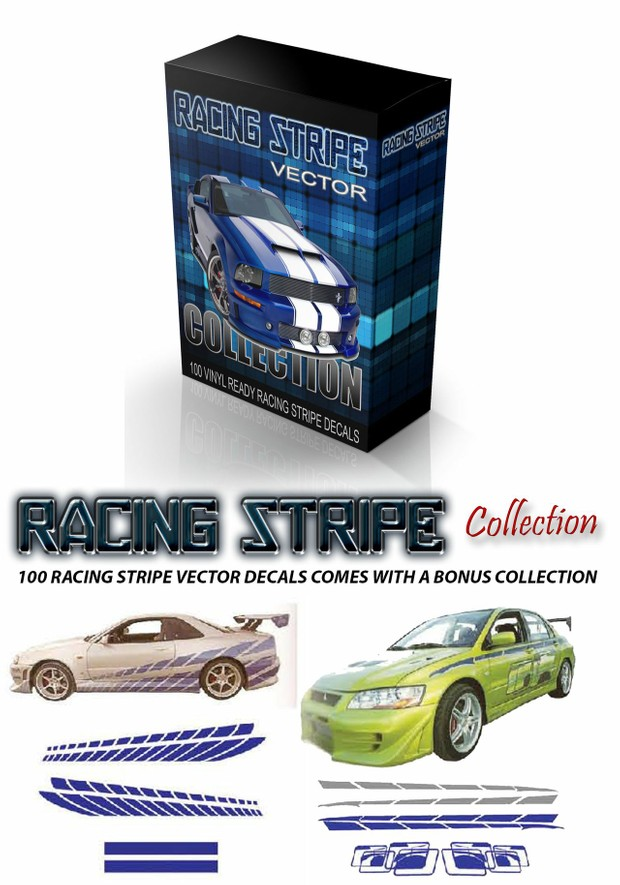 racing stripe vector decal collection