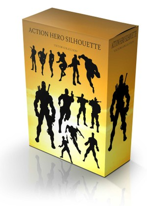 action hero silhouette vector collection