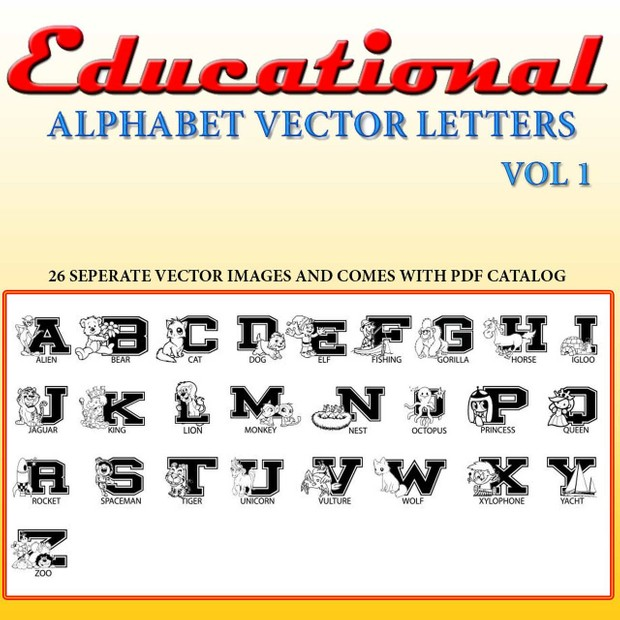 Alphabet Learning Games For Kids vector collection