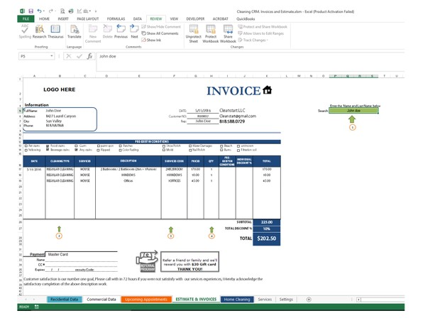 Cleaning CRM and Invoices Workbook