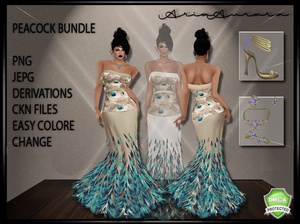 Peacock Feather Gown Bundle,,No Resell!!