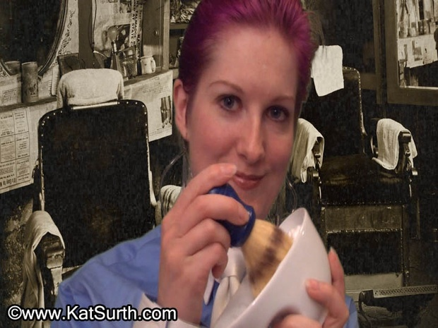 Kat's Face Shave with Disposable Razor White Tie Blue Blouse VOD Video on Demand Digital Video