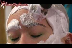 Emily's Thinning Shears Haircut, Face & Eyebrow & Head Shave VOD - Digital Video Download on Demand