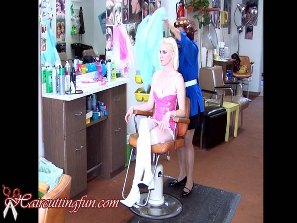 Kat's Roller Set in Pink Vinyl Outfit and Stockings - VOD Digital Video on Demand