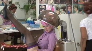 Kat Under Hair Dryer with Hair in Tip Top & Other Metal Curlers - VOD Digital Video on Demand