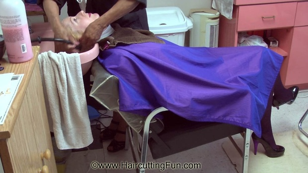 Kat's Bleaching and Purple Haircoloring at Salon - VOD, video on demand, digital video