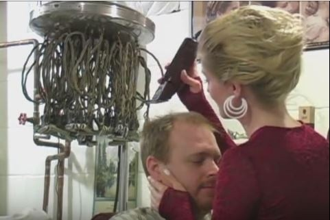 Kat Gives Man Alucard a Face and Nape Shave and Haircut - VOD Digital Video Download