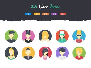 35 Flat User Icons
