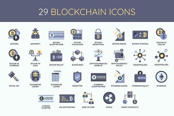 Bitcoin CryptoCurrency Blockchain Icon Set
