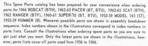 HARLEY-DAVIDSON-BOBCAT-PACER-SCAT-SUPER-10-MODEL 165-HUMMER-(1956-1966)-PARTS CATALOG