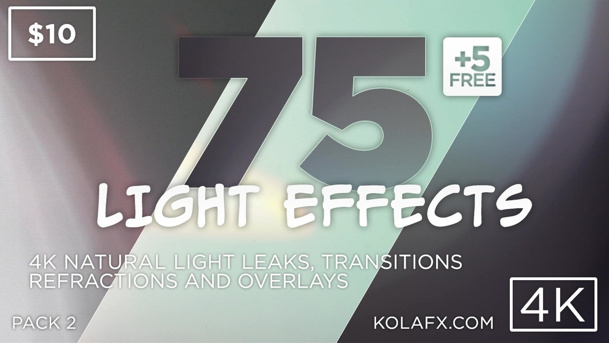 KOLAFX Pack 2 - 75 4K Light Leaks, Lens Flares Transitions & Filters for Adobe Premiere CC FCPX