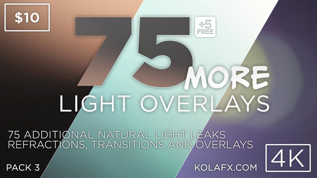 KOLAFX Pack 3 - 75 More 4K Light Leaks, Lens Flares Transitions & Overlays Pack
