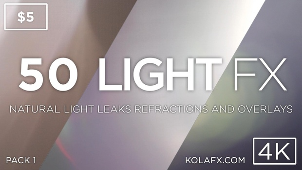 KOLAFX Pack 1 - 50 4K Light Leaks, Lens Flares Transitions & Filters for Adobe Premiere CC FCPX