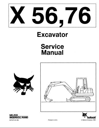 Bobcat 56,76 Mini Excavator Service Repair Manual PDF