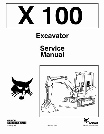 Bobcat X100 X 100 Excavator Service Repair Manual PDF