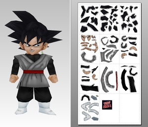 Papercraft Chibi Black Goku