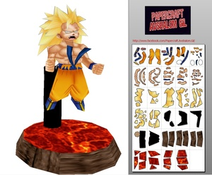 Papercraft Chibi - Goku SSJ3