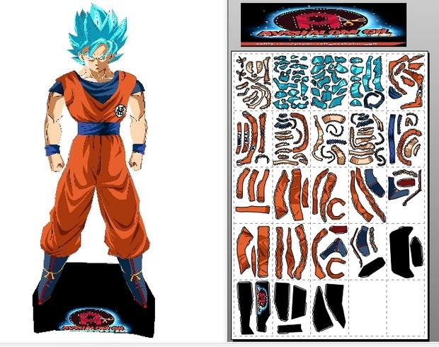 papercraft Goku super saiyan Blue