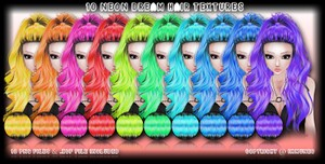 10 Neon Dreams Hair Textures With Resell Rights
