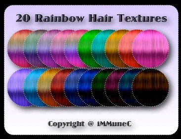 20 Rainbow Hair Textures With Resell Rights