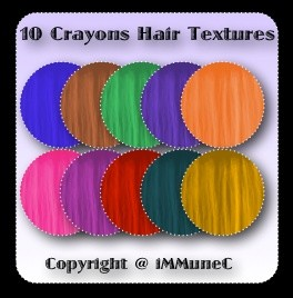 10 Crayons Hair Textures With Resell Rights
