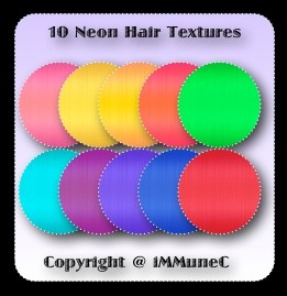 10 Neon Hair Textures With Resell Rights